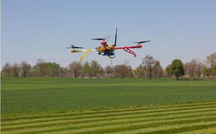 Drone camera above fields