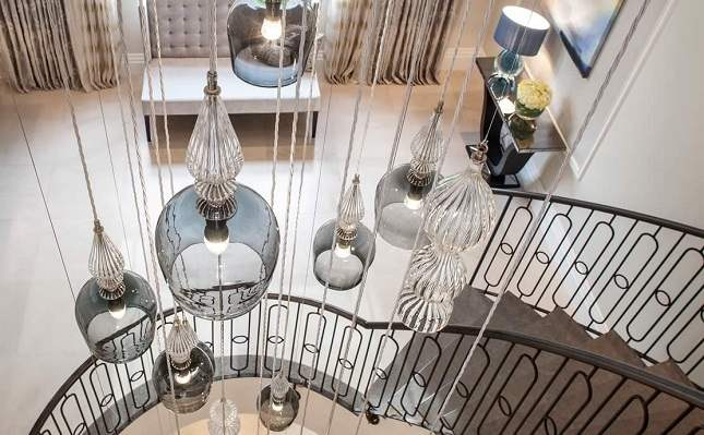 Kings Oak Staircase and Chandelier