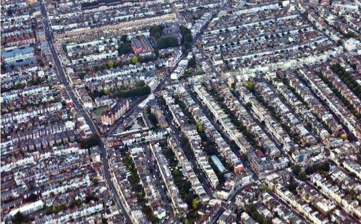 Aerial view of London property