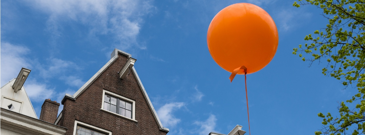 Balloon over Dutch building