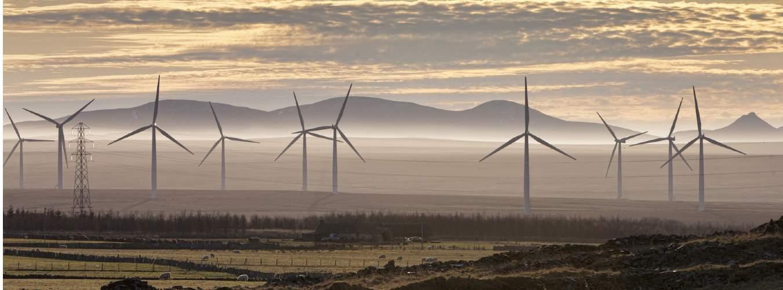 Wind turbines in the Scottish Highlands